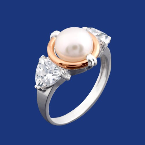6c84975fadae Кольцо серебряное с жемчугом и золотыми вставками - АскидА ...