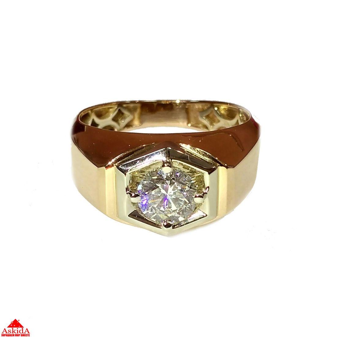 Мужское золотое кольцо с бриллиантом + (видео) - АскидА ... acf9670d9d9