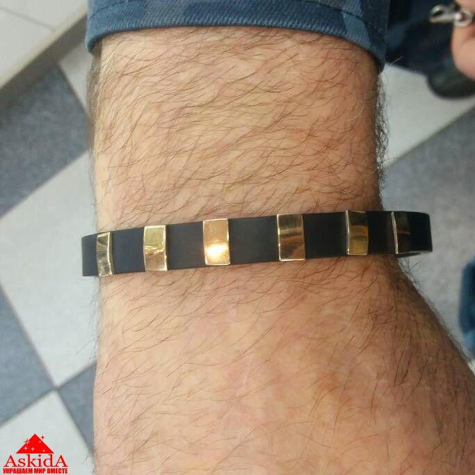 браслет каучуковый мужской 6 серебряных вставок с позолотой