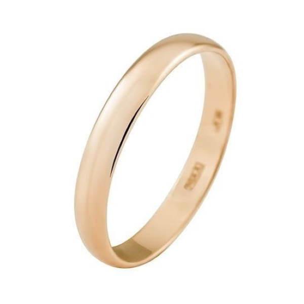 Гладкое обручальное кольцо 3 мм из розового золота