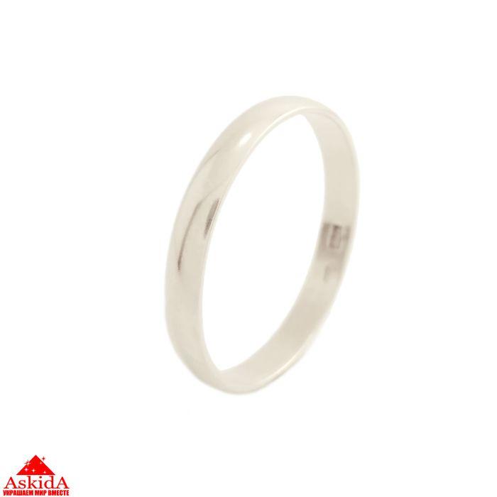 Гладкое обручальное кольцо 3 мм из белого золота - АскидА ... 250d15f1c14