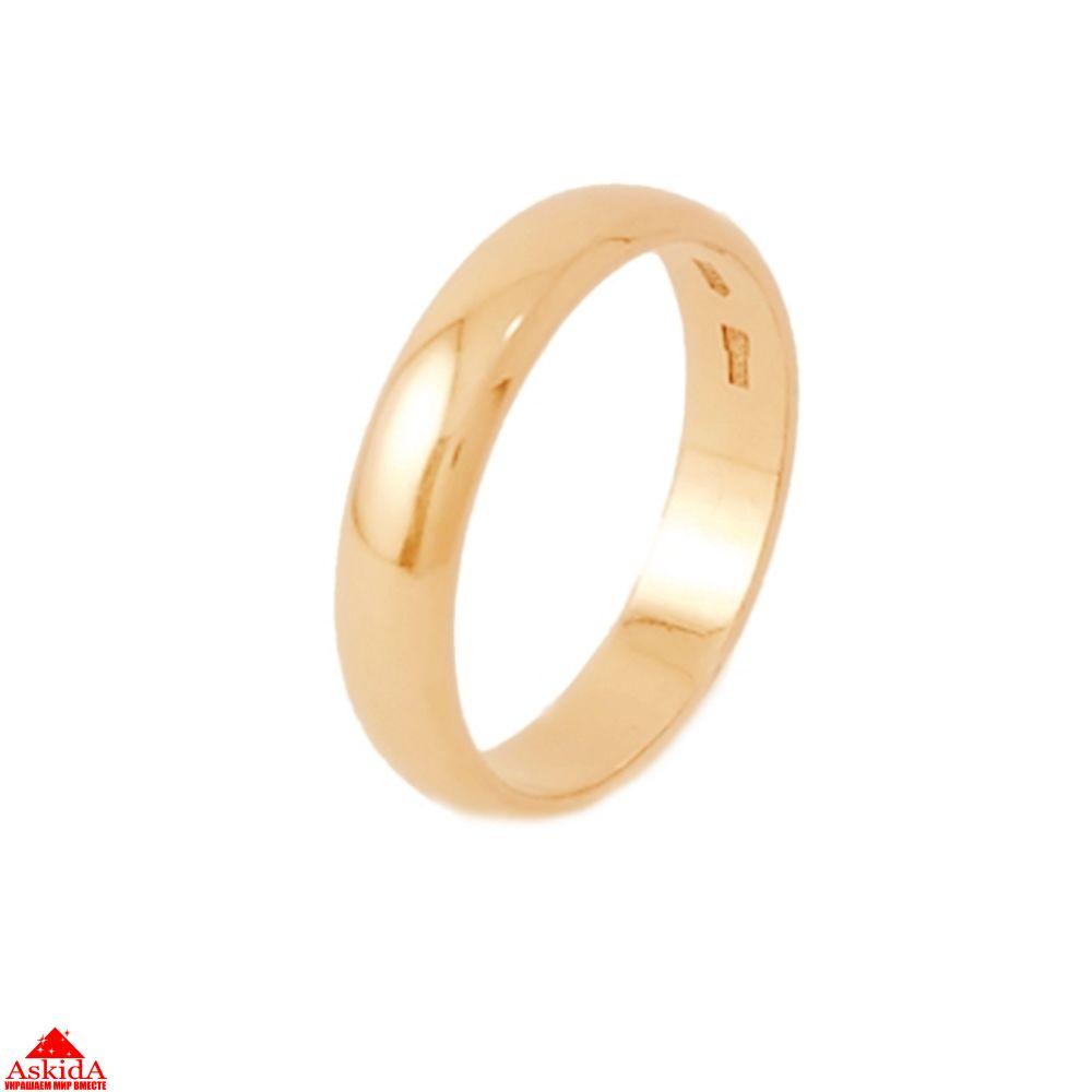 Гладкое обручальное кольцо 4 мм из розового золота - АскидА ... 8a5fa708e78