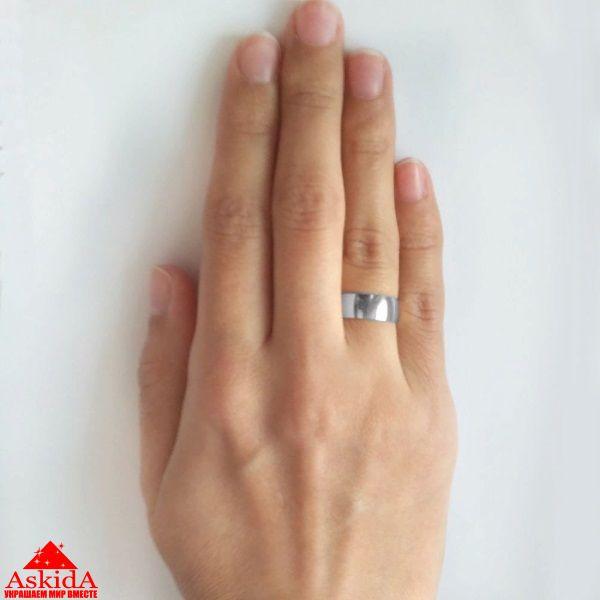 Гладкое обручальное кольцо 5 мм белое золото