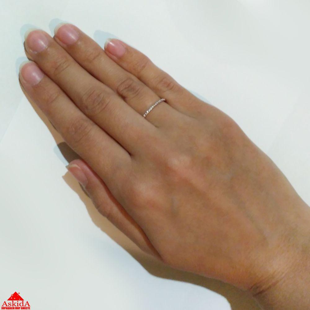 Обручальное кольцо тонкое с фианитами - 970190940 - АскидА ... ebdb9951f95