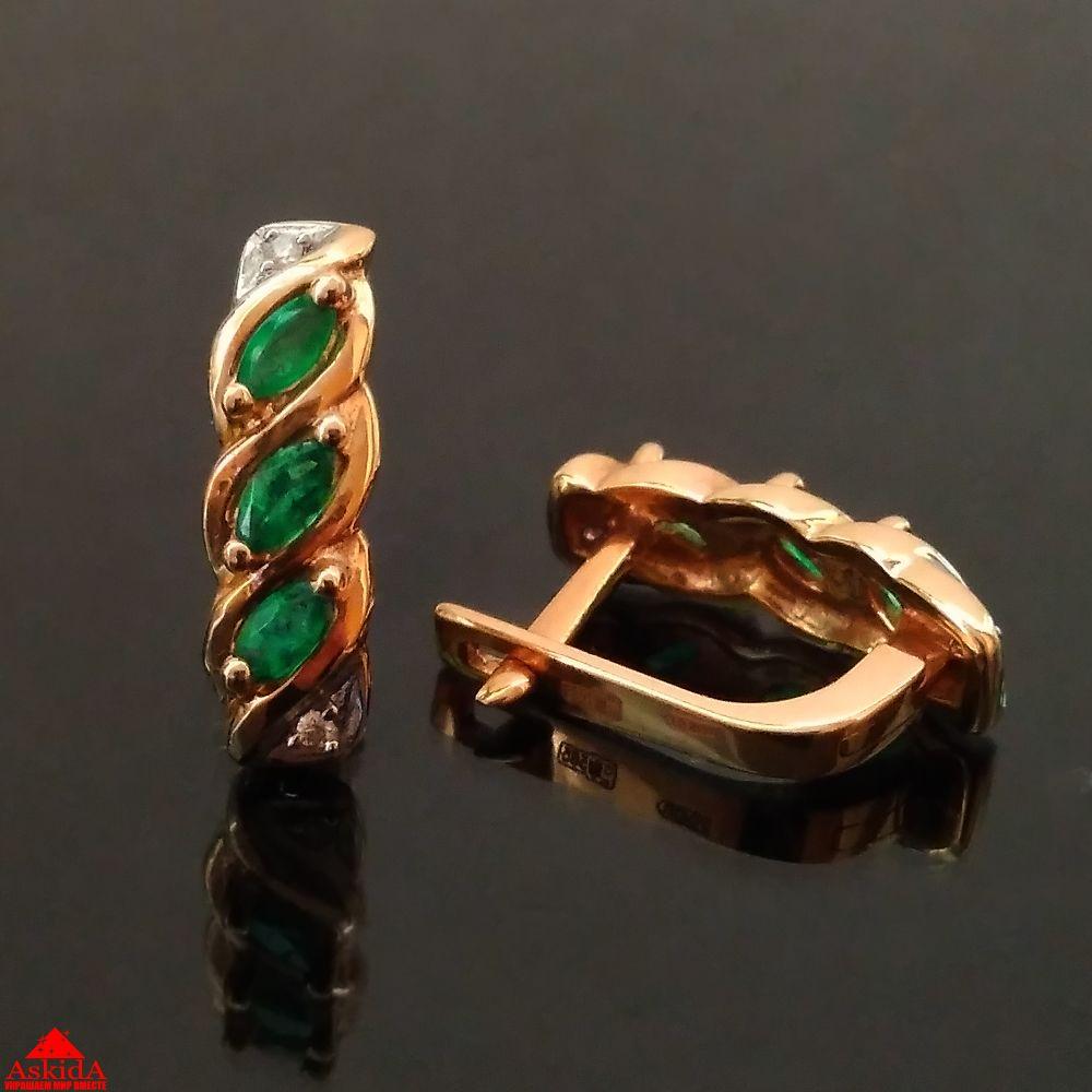 Золотые серьги с изумрудом и бриллиантами - 99367286 - АскидА ... 3838923313e