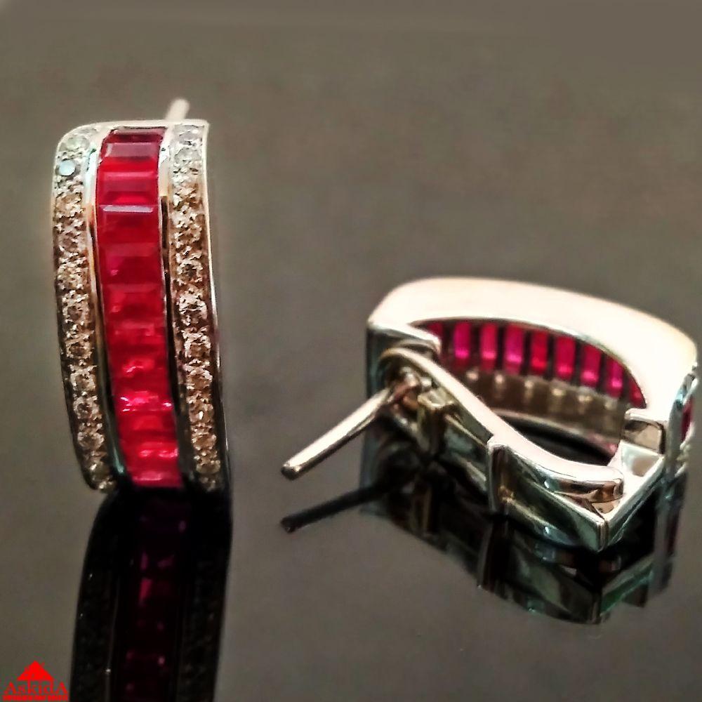 Массивные серьги с рубином и бриллиантами - 1000087762 - АскидА ... a4a8f3d9301