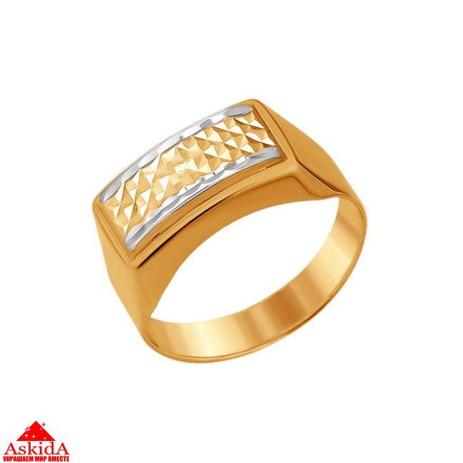 Печатка мужская прямоугольная золотая - 014198 - АскидА ... fd4457da608